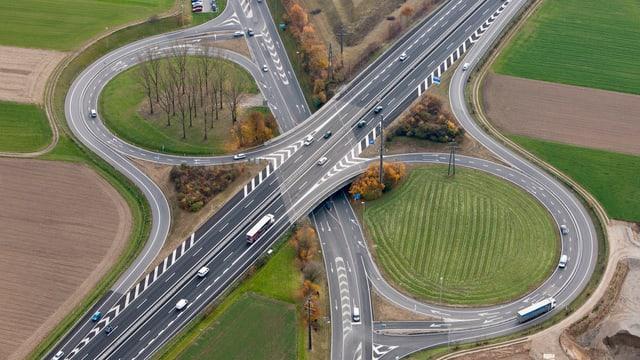 Autobahnanschluss Aarau-West von oben