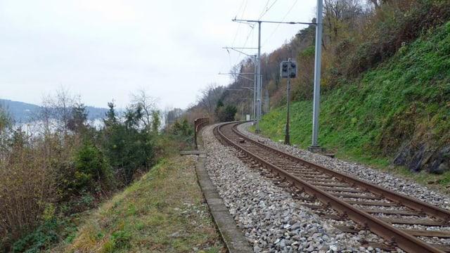 Das einspurige Bahngeleise am Ostufer des Zugersees.