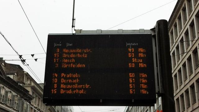 Anzeige an Haltestelle: Nächste Trams kommen in 50 Minuten