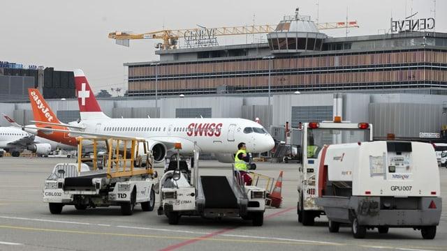 Swissair-Flieger am Flughafen Genf