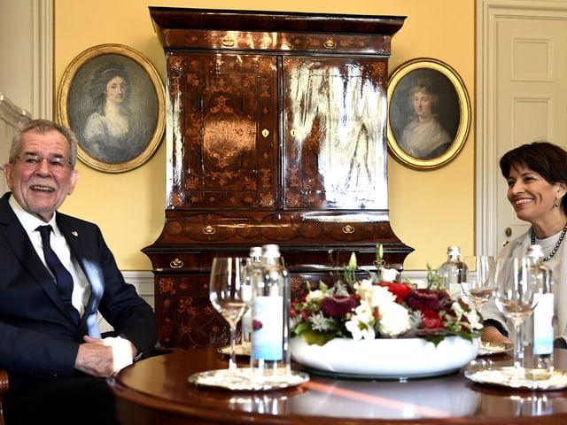 Leuthard und Van der Bellen im Gespräch.