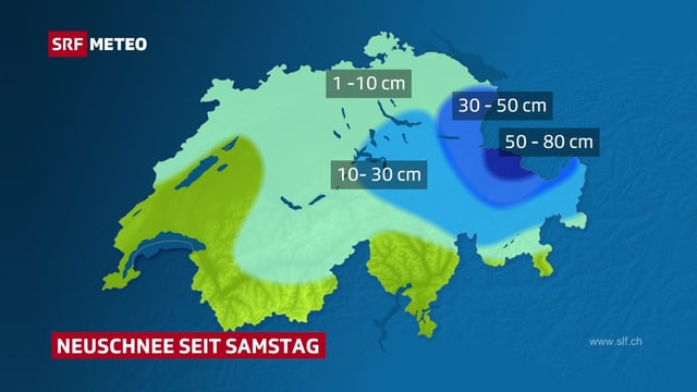 Karte mit den Neuschneesummen