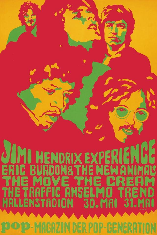 Buntes Poster im Stil der Pop-Art, auf dem unter anderen Jimi Hendrix abgebildet ist.