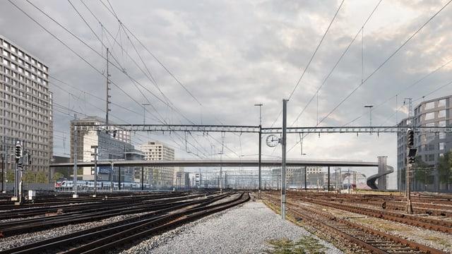 Eine Brücke die über das Zürcher Gleisfeld führt