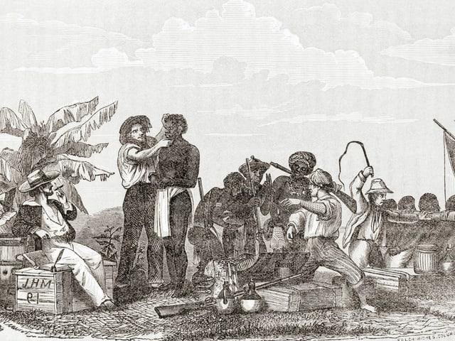 Eine alte Zeichnung vom Sklavenhandel in Afrika.