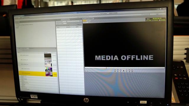 Visur da computer cun inscripziun 'media offline'
