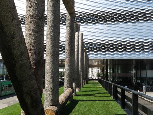 Zaun aus Baumstämmen vor Messegebäude