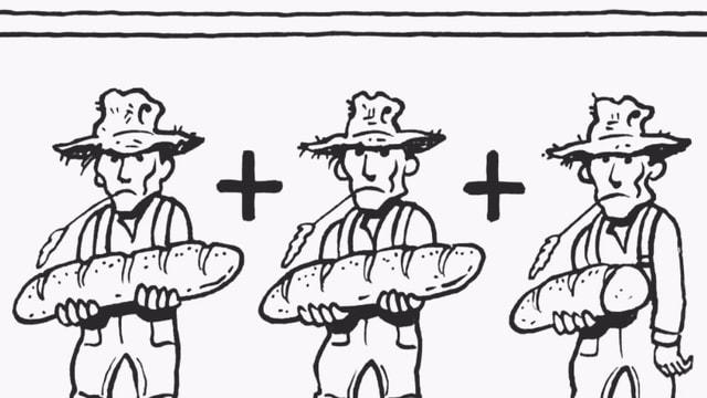 Drei Comicfiguren halten jeweils ein Brot in der Hand.