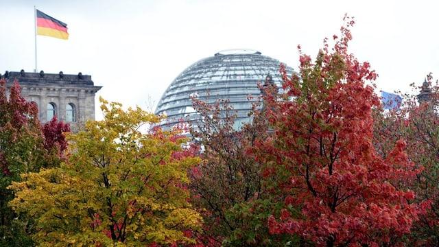 Reichstag hinter herbstlich gefärbten Bäumen