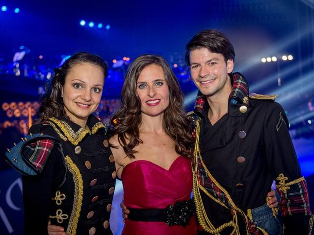 Sarah Meier, Sandra Studer und Stéphane Lambiel.