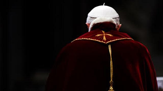Der Papst in einer Aufnahme von hinten.