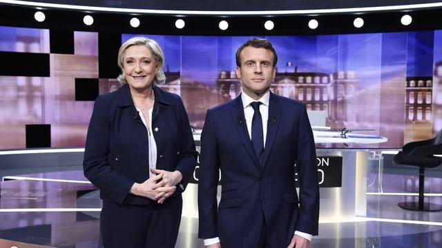 Le Pen und Macron im TV-Studio