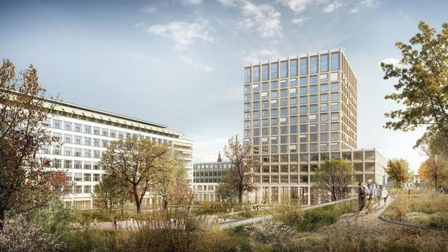 Visualisierung des geplanten Bettenturms vom Spitalgarten aus.