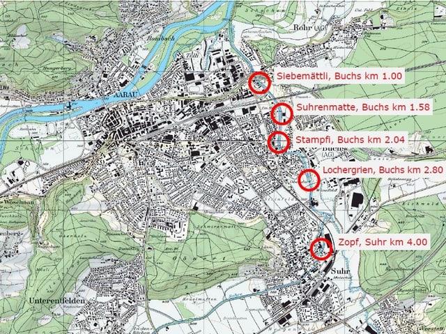 Karte mit eingekreisten Standorten.