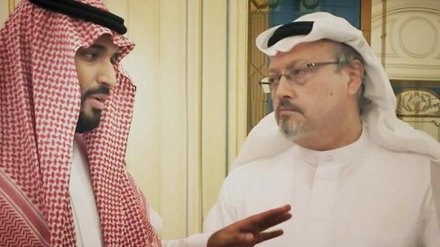 purtret da bin Salman e Khashoggi en discurs.