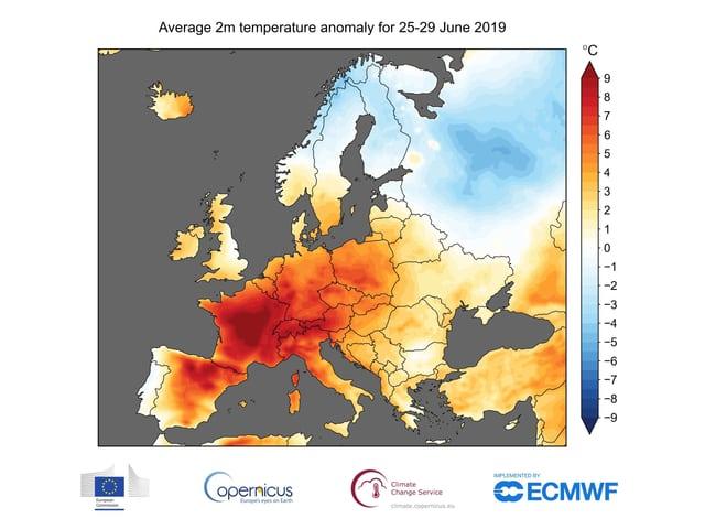 Europäische Temperaturabweichungen während der Hitzewelle Ende Juni 2019.