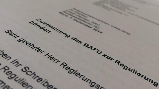 La charta correpundenta da Berna.