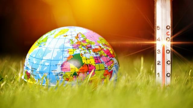 Ein Globus im Gras, ein Fieberthermometer zeigt über 40° an.