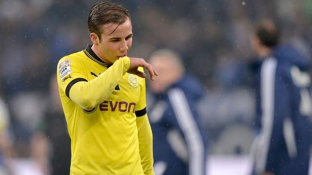 Mario Götze nach der Bekanntgabe des Wechsels zu Bayern.