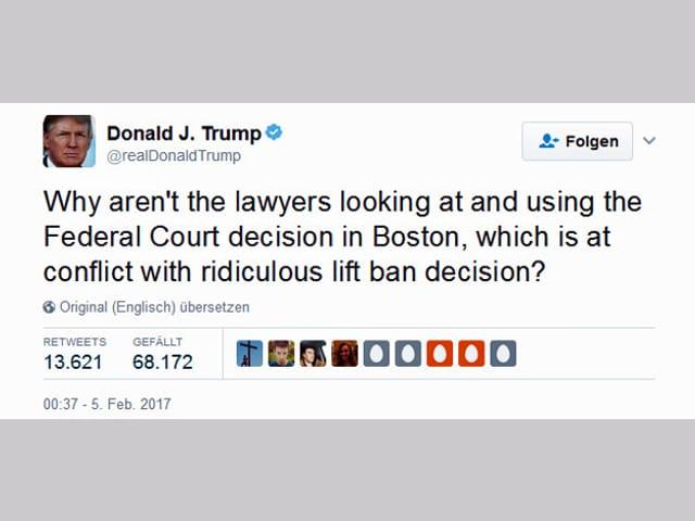 Tweet von Trump