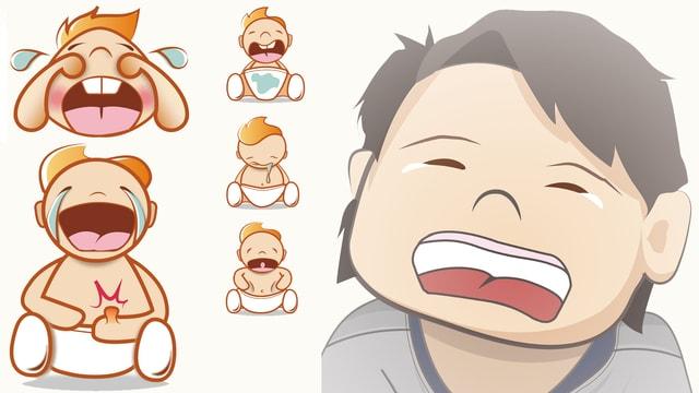 Eine grafische Darstellung von schreiende und weinenden Babys.