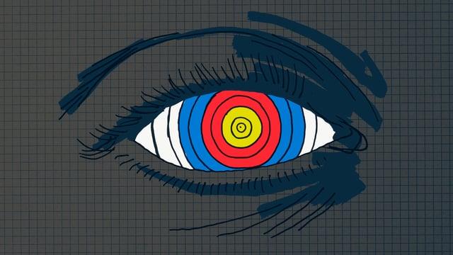 Zielscheibe in einem Auge.