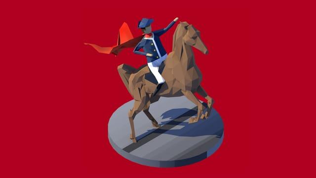 Ein Feldherr reitet auf einem Pferd, die Kleidung ist an die von Napoleon angelehnt. Der Hintergrund ist ein leuchtendes Rot.