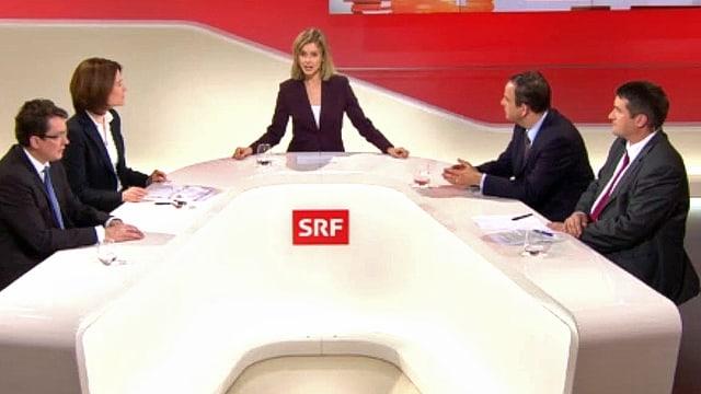 Die Parteispitzen von SVP, SP, FDP und CVP in der Abstimmungssendung von 12.02.17.