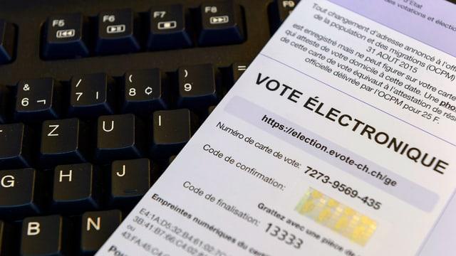Ein E-Voting-Zettel liegt auf einer Computer-Tastatur.