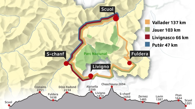 Ina survista da las 4 differentas cursas enturn il Parc Naziunal, sutvart il profil