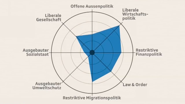 Das Smartspider-Profil von Petra Gössi zeigt ihre politische Haltung.