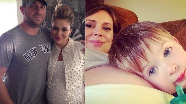 David Bugliari, Alyssa Milano und der Erstgeborene Milo auf dem nackten Bauch von Milano liegend.