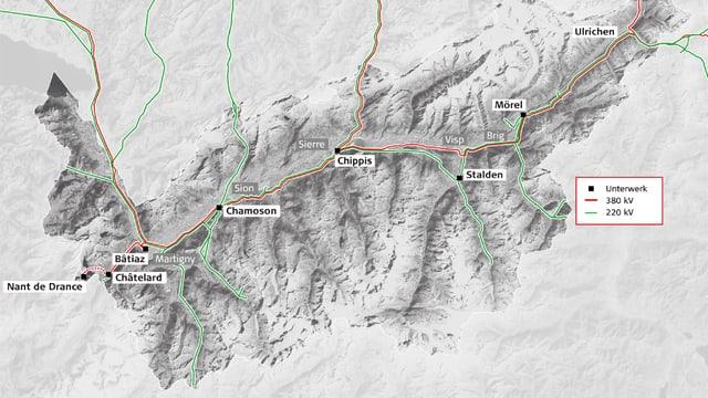 Karte mit den geplanten Leitungen im Wallis.