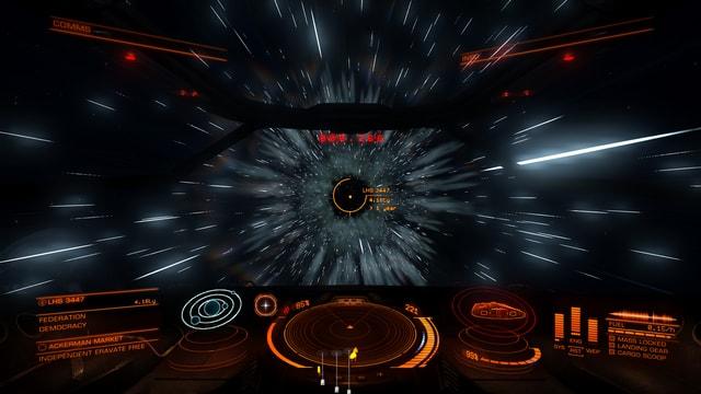 Kurz vor dem Hyperspace-Sprung zieht sich der Raum lang.