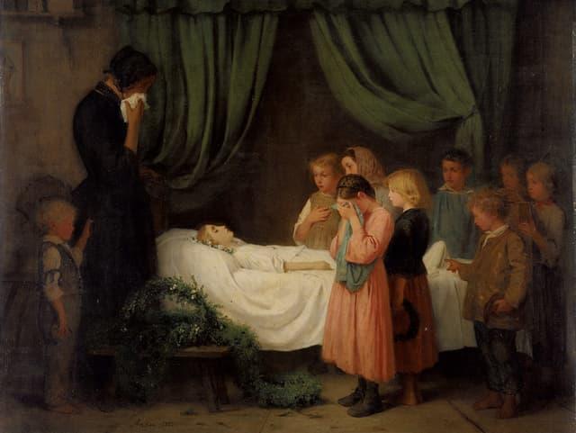 Gemälde: Kinder stehen weinend um das Totenbett eines Mädchens.