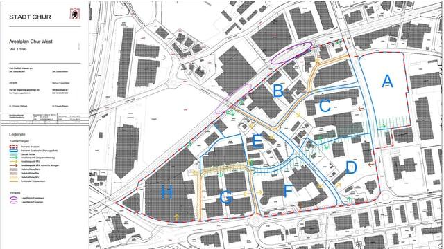 Il plan d'areal per il quartier da Cuira-vest.