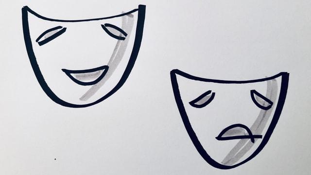 Theatermaske, eine glücklich, eine traurig