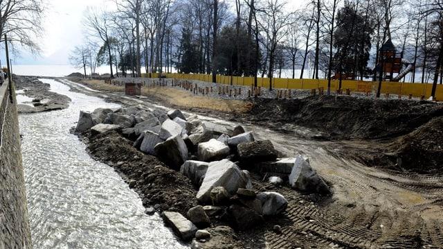 Aufnahme des Deltas des Flusses Cassarate, der derzeit Projekt einer Renaturierung ist.