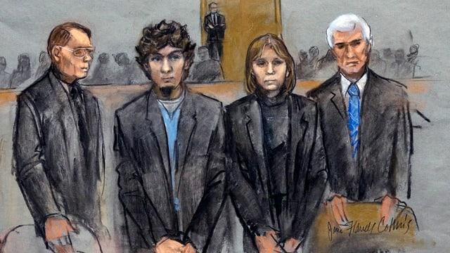 Purtret da l'attentader da Boston, Dzhokhar Tsarnaev, avant dretgira.