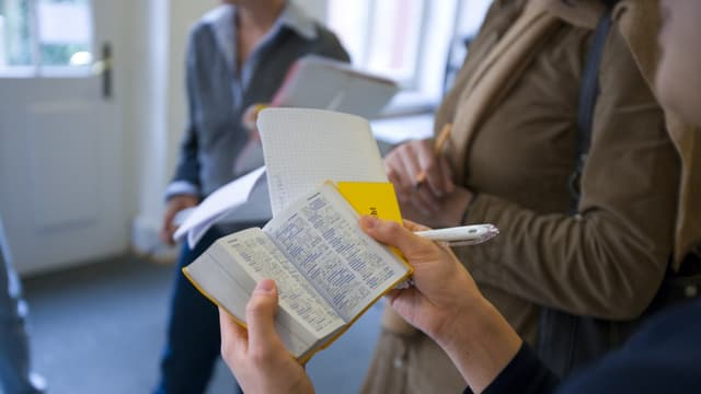 Frau hält Sprachlexikon in der Hand