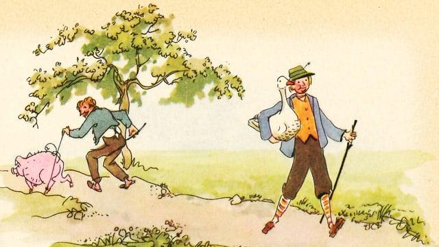 Zeichnung zweiter Männer, die in gegenseitige Richtung gehen – einer treibt eine Sau vor sich her, der andere trägt eine Gans.