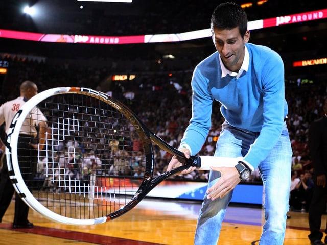 Novak Djokovic genoss seinen Besuch bei Miami Heat.