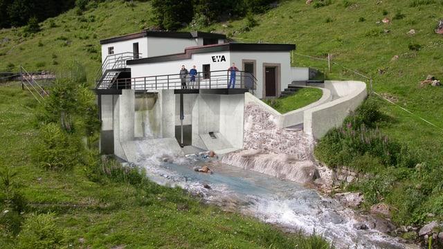 Das Modell des ausgebauten Wasserkraftwerks.