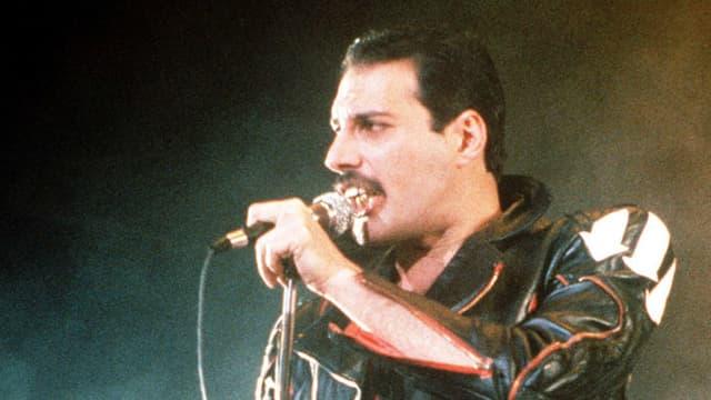 Ein Porträt von Freddie Mercury auf der Bühne.