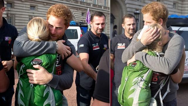 Prinz Harry umarmt eine Frau mit einem grünen Rucksack.