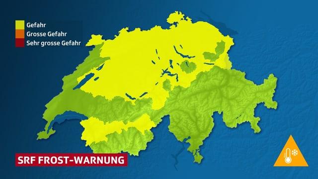 Flächige Darstellung der Bodenfrostgefahr(gelb), am Freitagmorgen, auf einer Schweizkarte(grün).