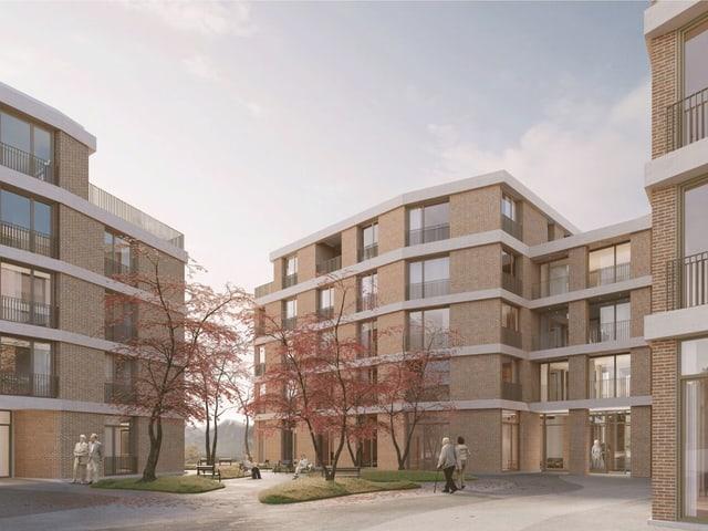 Visualisierung eines Bauprojektes für ein Pflegewohnheim in der Stadt Luzern.