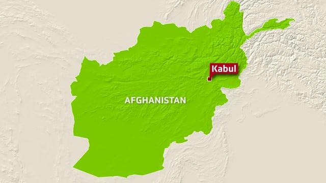 Karte Afghanistans mit der Verortung von Kabul.
