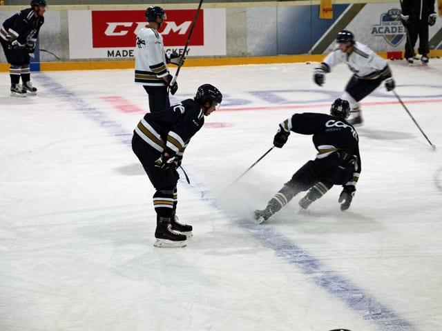 Eishockey-Spieler auf dem Feld.