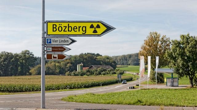 Wegweister mit Atomzeichen